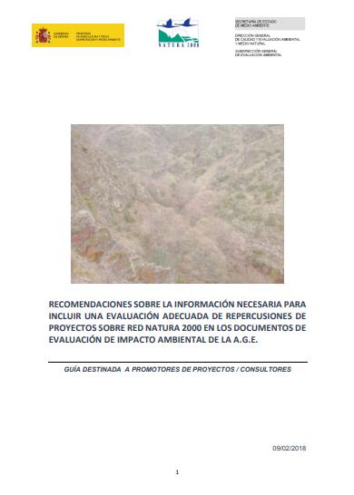 recomendaciones promotores evaluación proyectos red natura 2000 eia