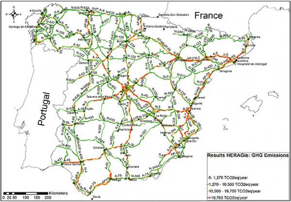 El 25% de la la red de carreteras de España contribuye con el 51% de las emisiones generadas por el tráfico