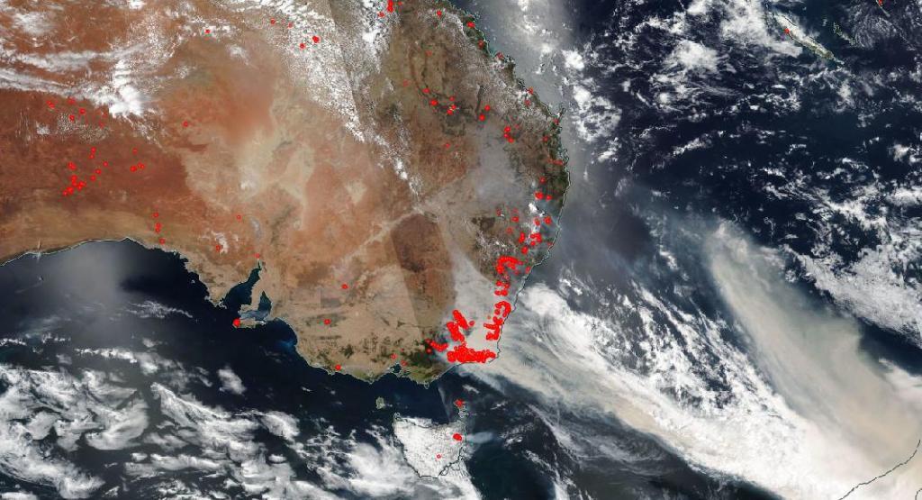 imagen satelite incendios australia
