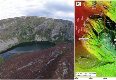 a) imagen aérea del lago b) modelo 3D/Fuente: J. Fernández-Lozano/ R. Andrés-Bercianos