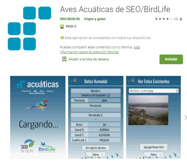 Aplicación móvil de Censo de Aves Acuáticas de SEO/Birdlife