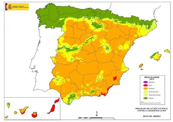 Mapa de la aridez en España- /Fuente: MITECO