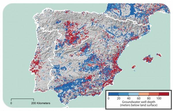 Profundidad de los pozos de agua subterránea